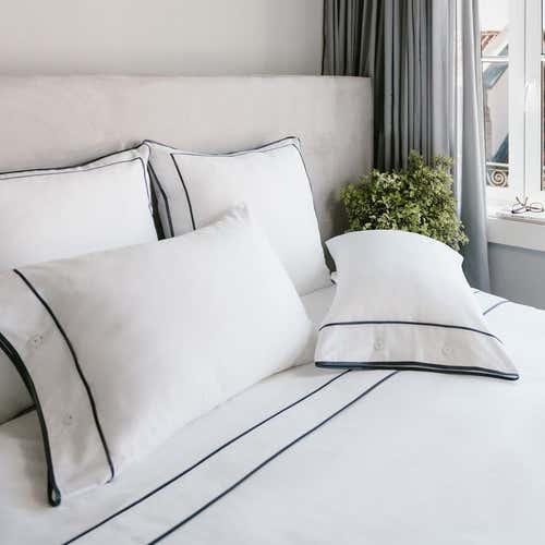 Monaco Ägyptischer Baumwollsatin 550 Fäden Webdichte Bettwäsche - Anthrazitgraue Bordüre
